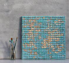 Abstraite peinture sur toile turquoise feuille par AtelierMaltopf