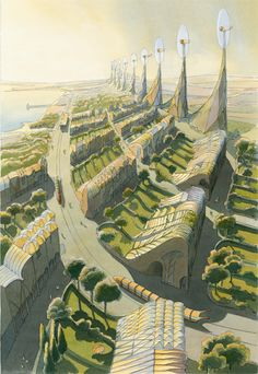 The Hollow City, by Luc Schuiten, retro-futuristic, futuristic city, retro, sci-fi, future city, science fiction, green city