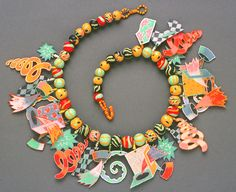 Pier Voulkos, Shrinky Dink Neck Pieces with sculpy beads, 1985