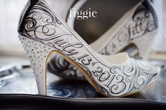 OK ladies here you go.<3 (pic 2 of 2) Black and Silver Swirls Bridal Shoes, Hand-painted by Figgie | www.figgieshoes.com