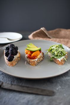Nicole, this is for you! Goat Cheese Crostini Three Ways |