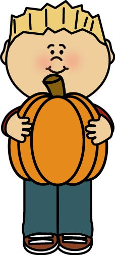 AUTUMN / FALL LITTLE BOY HOLDING A PUMPKIN CLIP ART