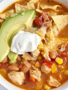 One Pot Skinny Chicken Taco Soup. One Pot Skinny Chicken Taco Soup Recipes Skinny chicken taco soup only takes 30 minutes to have on the dinner table and . Easy Taco Soup, Chicken Tortilla Soup, Chicken Tacos, Crockpot Recipes, Soup Recipes, Dinner Recipes, Chicken Recipes, Family Recipes, Gourmet