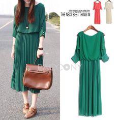 Summer Hot Vintage Off-Shoulder Round Neck Middle Sleeve Chiffon Dresses