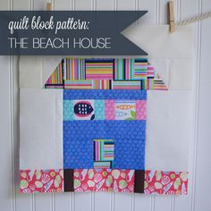 Looking for your next project? You're going to love Beach House Quilt Block Pattern by designer SewCanShe. House Quilt Patterns, House Quilt Block, Quilt Block Patterns, Pattern Blocks, Quilt Blocks, Sewing Patterns Free, Free Sewing, Quilting Tutorials, Sewing Tutorials