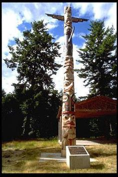 Totem pole carved by David Boxley, in Klallam nation graveyard, Little Boston,Washington