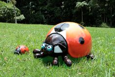 Giant Ladybug Seat and Climber by Art Dinouveau. This incredibly cute lady bug is the latest addition to the Art for Play collection of play equipment. Built in fibreglass and finished in graffiti-proof two-pack paint the giant ladybug seat and climber works well with our caterpillar, dragonfly slide, mushroom steppers, tomato and pumpkin sculptures to create a giant vegetable patch. Play Equipment.