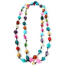 Long Colorful Necklace - Multicolored Bead Necklace - Double Necklace. £16.00, via Etsy.
