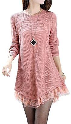Women's Stylish Knitted Sweater Lace Decoration S26, Pink