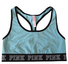 Victorias Secret PINK Logo Racerback Cotton Bra Light Blue Light Blue Medium -- You can get additional details at the image link.
