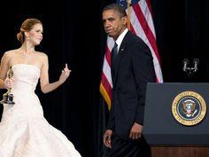 Jennifer Lawrence Flips Off Barack Obama
