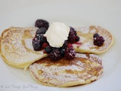 Beautifully soft and creamy home made mascarpone atop berry pancakes by Liz Posmyk Good Things