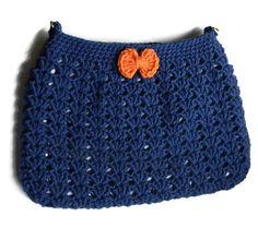 Crochet Navy Hobo Bag Fabric Lined Purse Cross by jwhizcrochet Crochet Fabric, Hand Crochet, Black Nylons, Hobo Bag, Cross Body, Coin Purse, Black Leather, Bows, Purses