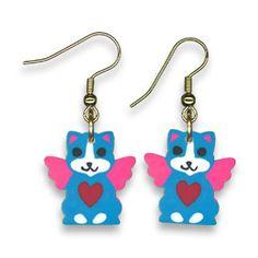 Lisa Frank Eraser Earrings - Blue Cat