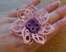 anneau de déclaration de fleur tatted anneau ajustable, anneau de déclaration, bague fleur, bague Tatted, bague fleur tatted, bague de déclaration de fleurs