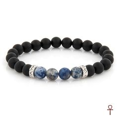 Matte Onyx Black Beaded Bracelet #adjustable #beaded #black #blue #men #onyx #silver #menstyle #bracelet