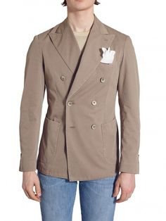Beige Double Breasted Cotton jacket