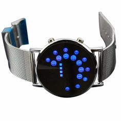Fashion LED MEN Clock Watch Iron Man Blue LED Watches Stainless Steel Bracelets & Bangles relojes hombre 2015 Wristwatch gift