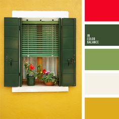 amarillo y rojo, amarillo y verde, bermejo, blanco y verde, color verde hierba, combinación de colores, elección del color, paleta de colores, rojo, selección de colores, tonos verdes, verde.