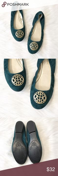Tahari Teal Suede Ballet Flats These ballet flats are so cute and are the most gorgeous color teal! Beautiful embellishment on top. These are in excellent condition, little to no wear. Size 9, leather upper, style name - Varsity. Tahari Shoes Flats & Loafers