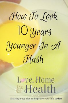 Literally take off 10 years in 10 minutes with items in your kitchen. 'Look 10 Years Younger in a Flash.lovehomeandhe… Literally take off 10 years i Beauty Care, Beauty Skin, Health And Beauty, Beauty Makeup, Beauty Secrets, Beauty Hacks, Skin Secrets, Botox Alternative, Skin Care Home Remedies