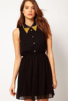 Black Sleeveless Beading Embellished Dress