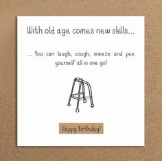 Handmade Funny Birthday Card Old Age funny by LeannejeanGraphics
