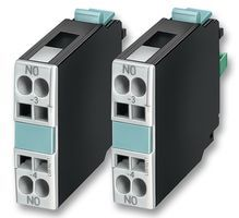 SIEMENS 3RH19211CA10  CONTROL CONTACTOR For Use With:Siemens 3RT, 3RH Contactors & Contactor Relays; No. of Poles:1; Contact Current Max:6A; Contact Voltage AC Max:600V; Contact Voltage DC Max:600V; Switch Terminals:Screw; Operating Temperature Max:60 C