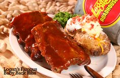 Logan's Famous Baby Back Ribs... Logans Roadhouse, Meatloaf, Ribs, Entrees, Weight Loss, Beef, Food, Meat, Lobbies