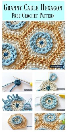Granny Cable Hexagon Blanket Free Crochet Pattern