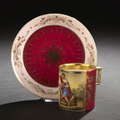 Royal Vienna Porcelain Manufactory Cup and Saucer, 1860-1864