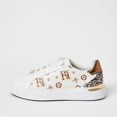 River Island Womens Cream RI printed lace-up trainers Lace Up Trainers, Faux Leather Fabric, River Island Womens, Plimsolls, Shoe Size Conversion, Superga, Style Guides, Shoe Boots, Cream