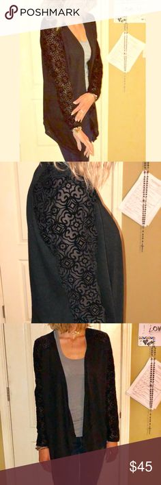 Beautiful black dress cardigan Beautiful designs on sleeve. Transparent look. august silk Sweaters Cardigans