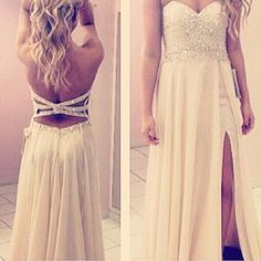 I love the back of this dress but I dont like the slit