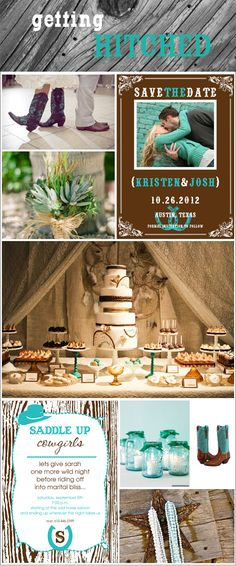 aww!!! im getting hitched! here is my Dream wedding: teal and brown, western style!
