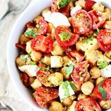 Chickpea, Pesto, Tomato, and Mozzarella Salad-this simple salad is fresh, flavorful and can be made in less than 10 minutes! It's a summer favorite! Click @twopeasandpod for the recipe link!🍅https://www.twopeasandtheirpod.com/chickpea-pesto-tomato-and-mozzarella-salad/ #twopeasandtheirpod