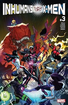 Inhumans vs. X-Men n°3 (25.01.2017) // New Attilan is conquered. Medusa and her generals are being held prisoner as the X-Men prepare to cleanse the world of the Terrigen Cloud. Could this be the end of Inhuman progeny? Now, the only hope for the Inhuman legacy rests in the hands of an unlikely crew of young Inhumans.  #inhumans #xmen #medusa #marvel #comics