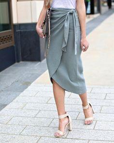 Moss Stone Cotton Wrap Skirt