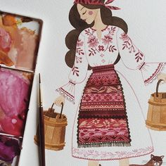 Adding a few last touches to a few illustrations from my Romanian Folk inspired collection. Prints and cards will be available this April. Illustrations Vintage, Illustration Art, Guache, Cool Drawings, Diy Art, Art Inspo, Amazing Art, Folk Art, Watercolor Paintings