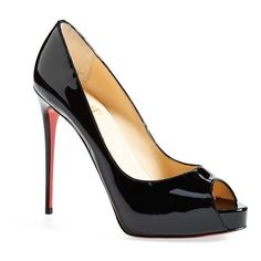 Women's Christian Louboutin 'Prive' Open Toe Pump ($800) ❤ liked on Polyvore featuring shoes, pumps, heels, black, christian louboutin, christian louboutin pumps, heels & pumps, red sole shoes, black stiletto pumps and heels stilettos