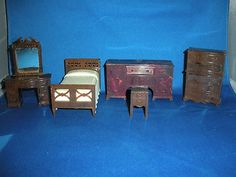 Vintage 1940 Bedroom Doll House Furniture 5 pieces