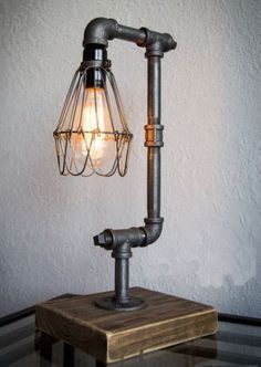 Metal Pipe Table Desk Lamp Light