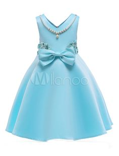 Flower Girl Dresses Aqua Pearls Necklace Beaded Bow V Neck Knee Length Kids Pageant Party Dress Baby Girl Birthday Dress, Birthday Dresses, Baby Dress, Cute Girl Dresses, Little Girl Dresses, Flower Girl Dresses, Dress Anak, Girls Frock Design, Frocks For Girls