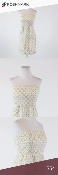 Stunning J. Crew Geometric-Patterned A-Lined Dress A beautiful combination of an ivory dress with dark beige geometric design, this dress is one that is truly versatile and a great addition to any wardrobe! Strapless, slightly A-lined with a hidden side zipper enclosure and built in boning for extra support. Size 4; Bust/Waist/Hip/Length is 32/28/30/38 inches! Please don't hesitate if you have any other questions! J. Crew Dresses Strapless