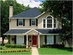 color combo- tan house, red door, black shutters