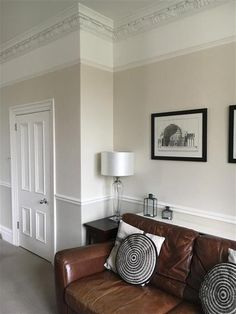 Living room in Farrow and Ball shaded white, slipper satin and all white. Leather sofa with monochrome cushions Farrow And Ball Living Room, Beige Living Rooms, Paint Colors For Living Room, Living Room Decor, Farrow Ball, White Hallway, Kitchen Wall Colors, Kitchen Walls, Leather Sofa