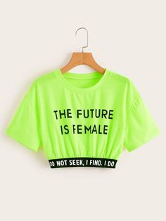 To find out about the Neon Green Letter Print Tape Crop Tee at SHEIN, part of our latest T-Shirts ready to shop online today! Cute Lazy Outfits, Neon Outfits, Crop Top Outfits, Stylish Outfits, Summer Outfits, Girls Fashion Clothes, Teen Fashion Outfits, Outfits For Teens, Neon Shirts