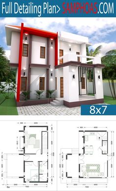 Sketchup Home Design With 2 Bedrooms - SamPhoas Plan Contemporary House Plans, Modern House Plans, House Floor Plans, Modern Contemporary, Home Building Design, Home Design Plans, Building A House, 30x40 House Plans, Simple House Design