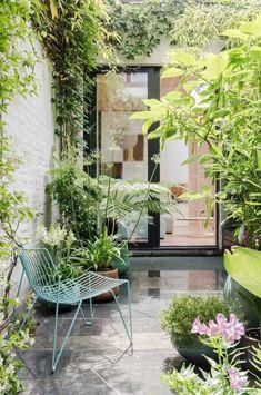 kleine tuin binnenplaats klimop begroeiing planten - The Silver Garden Small Jungle Garden Ideas, Small City Garden, Small Balcony Garden, Small Courtyard Gardens, Small Courtyards, Small Space Gardening, Small Gardens, Outdoor Gardens, Balcony Gardening
