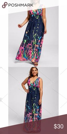 6X Maxi Multi-Colored Dress, Soft Material-V-Neck 6X gorgeous multi-colored maxi dress.  The material is so soft. It is a v- neck and sleeveless.  The main color is black the other colors are blues, yellows, pinks, oranges, reds, ....It is very colorful and very very pretty. IN STOCK NOW!! Dresses Maxi
